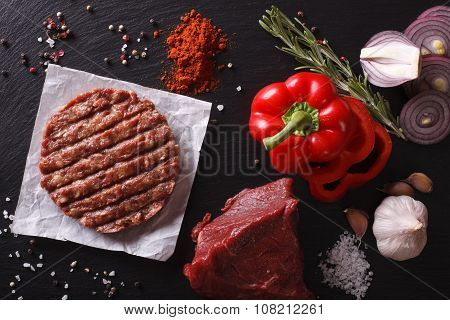 Raw Ground Beef Burger Steak Cutlets With Ingredients. Horizontal Top View