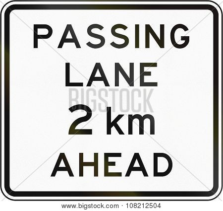 New Zealand Road Sign - Passing Lane Ahead In 2 Kilometres