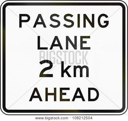 New Zealand Road Sign - Passing Lane Ahead In 2 Kilometres