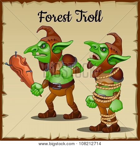 Troll with a wooden club bound by rope