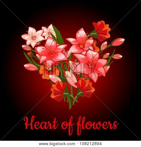 Heart of flowers lilies