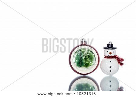 Snowglobe With Christmas Tree Inside With Snowman, Copy Space
