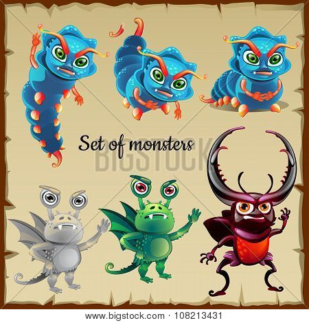 Set of six menacing insects, cute monsters