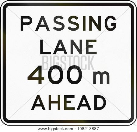 New Zealand Road Sign - Passling Lane Ahead In 400 Metres