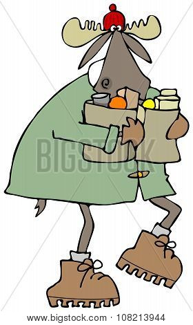 Moose carrying bags of groceries