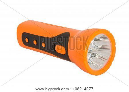 Orange Electric Pocket Flashlight On White Blackground