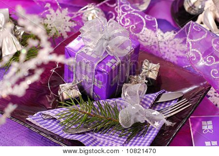 Christmas Table Decoration In Purple  Color
