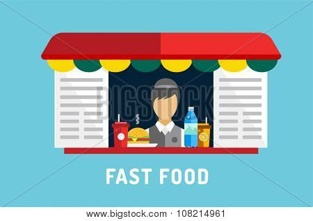 Fast food objects set. Water bottle juice, eat, ice cream, hamburger hot dogs, mobile restaurant, lunch time. Design elements