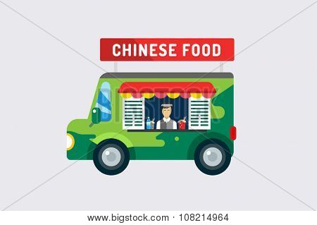 Chinese fast food car objects set. Meat product, man silhouette, noodles box, fresh drinks, china or japanese restaurant, lunch time