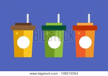 Fast food drinks pack set. Fruit drink logo icon template. Fresh juice and coke drink, yellow, splash, vegetarian, cold.