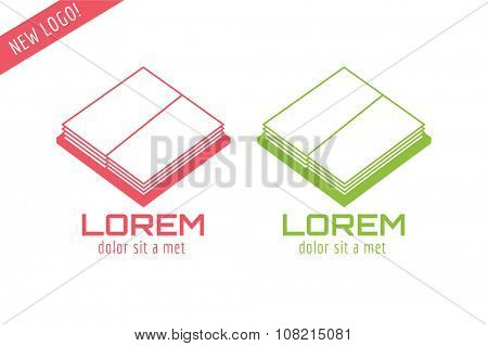 Books template logo icon. Back to school. Education, university, college symbol or knowledge, books stack, publish, page paper. Design element. Isolated on white