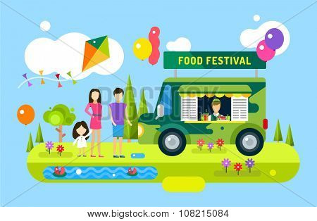 Happy family holiday or weekend summer time. Natural healthy food, premium product, car, mobile, man, wooman and girl, mobile restaurant, fast food, lunch time. Design elements