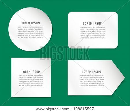 Form blank template. Business card paper and business office, information, text. Design element. Print design. Isolated on green