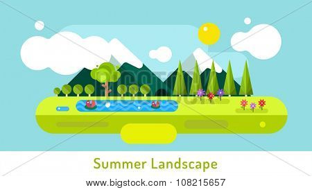 Abstract outdoor summer landscape. Trees and nature signs or outdoor, mountains, river or lake, sun, clouds, flowers, cave. Design elements