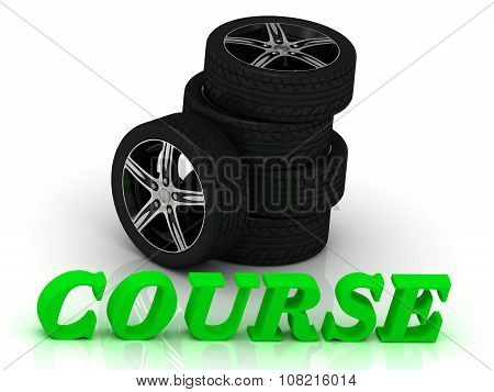 Course- Bright Letters And Rims Machine Black Wheels
