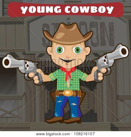 Fictional cartoon character - young cowboy