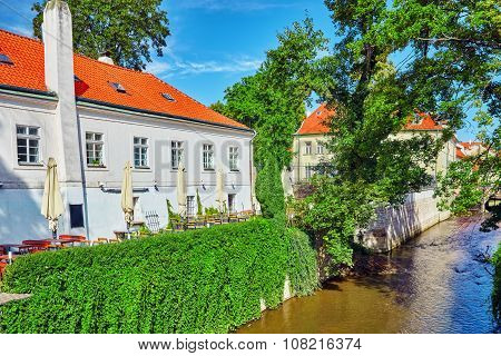 Prague's Mala Strana(lesser Town Of Prague). ?ozy Streets With Cafes On The River Side.czech Republi