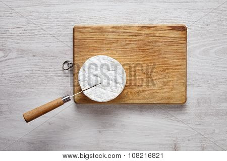 Cutting Camembert Top View Knife Brushed White Table Wooden Board