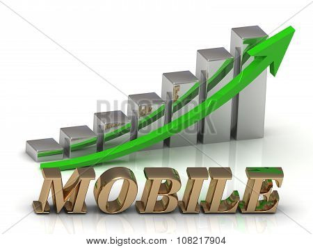 Mobile- Inscription Of Gold Letters And Graphic Growth