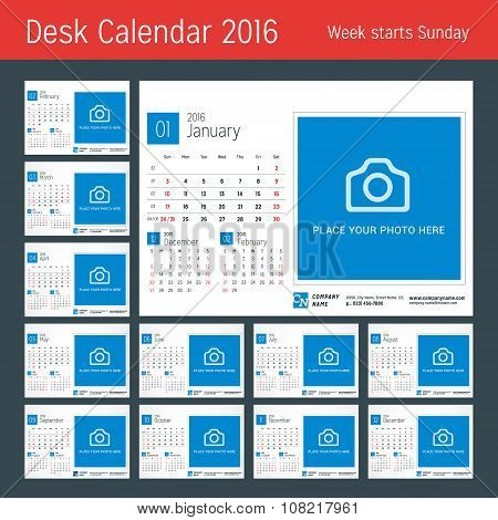 Desk Calendar For 2016 Year. Vector Design Print Template With Place For Photo. 3 Months On Page. We