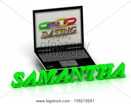 Samantha- Name And Family Bright Letters Near Notebook