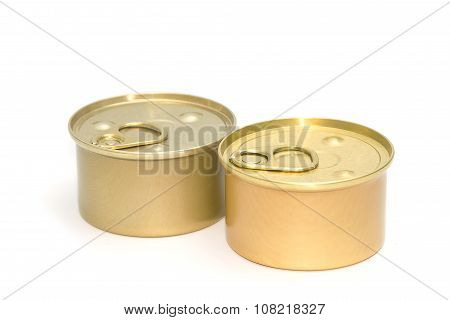 Tin Can With  Pull Ring  On White Background