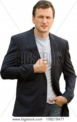 Portrait of man in business suit on a white background.