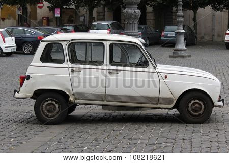 White Renault 4 Isolated