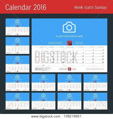 Desk Calendar For 2016 Year. Vector Design Print Template With Place For Photo. Set Of 12 Months. We