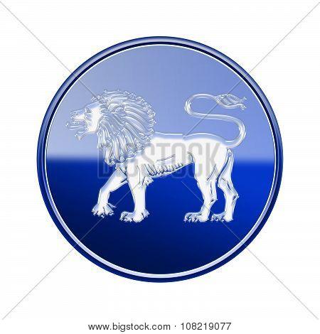 Lion Zodiac Icon Blue, Isolated On White Background