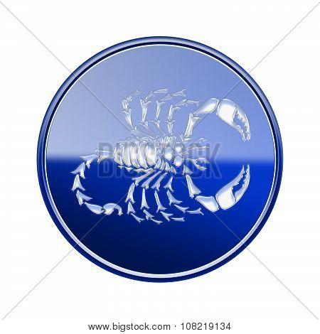 Scorpio Zodiac Icon Blue, Isolated On White Background