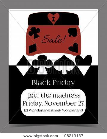 Black Friday Sale in Wonderland Banner, Card, Brochure - Jewelry