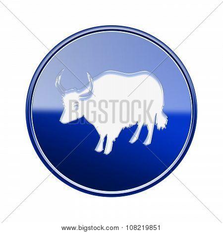 Ox Zodiac Icon Blue, Isolated On White Background.