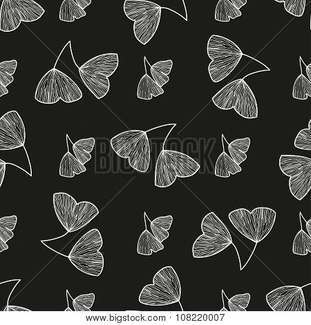 Seamless pattern with leaves of Ginkgo biloba