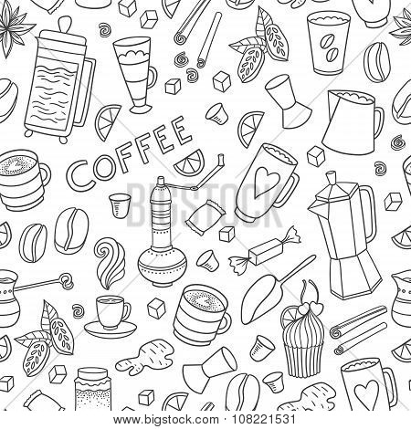 Coffee hand-drawn pattern
