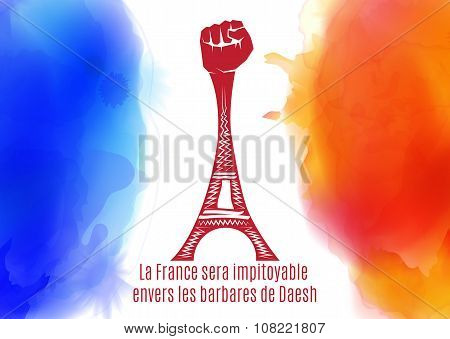 Pray for Paris. France. Eiffel tower on background colored france flag.