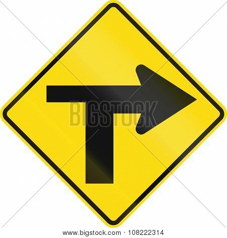 New Zealand Road Sign - T Junction Controlled (priority Turns Right)