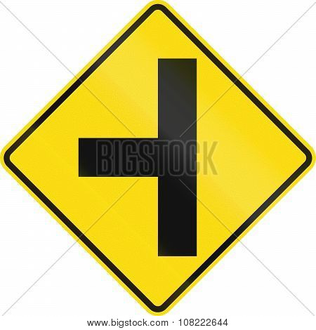 New Zealand Road Sign - Side Road Junction Uncontrolled On Left