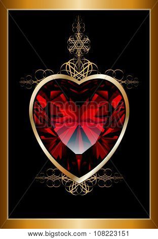 Background with ruby red heart and gold ornamental design, vector illustration