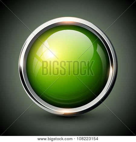 Green shiny button with metallic elements, vector glossy design for website.