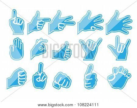 blue hands in various positions that gesturing