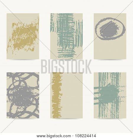 Set Of Vector Design Templates With Rough Textures