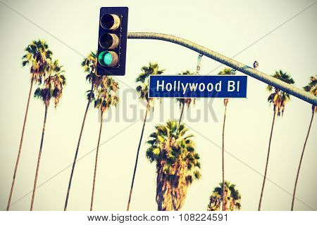 Cross Processed Hollywood Sign And Traffic Lights With Palm Trees, La.