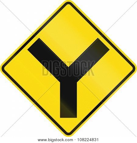 New Zealand Road Sign - Uncontrolled Y-junction Ahead