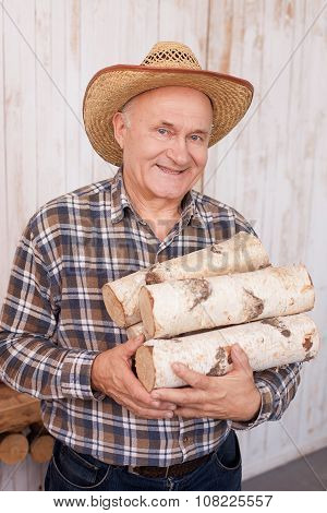 Skillful senior male worker is carrying wood