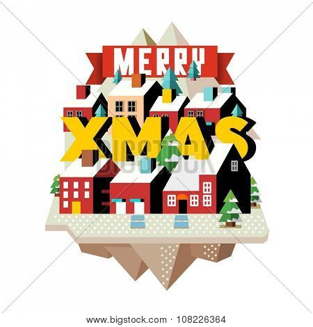 Snow and cold in xmas time, vector isometric cartoon
