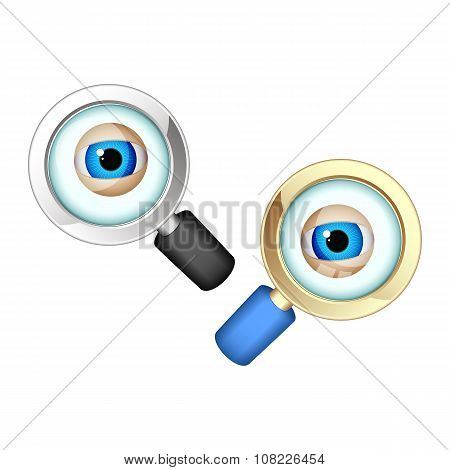 Eyes In Magnifying Glasses