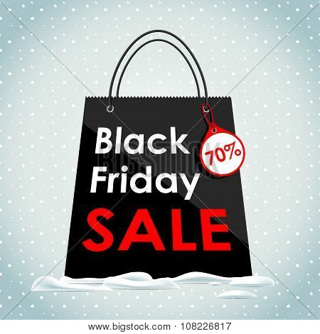 Vector. Black Friday sales. Black bag in the snow. Sale of a bla