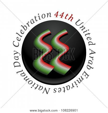 '44th United Arab Emirates National Day Celebration' logo unit. Number '44' written in arabic script.