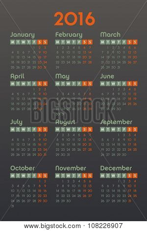 Calendar for 2016 on dark background, week starts Monday, vector